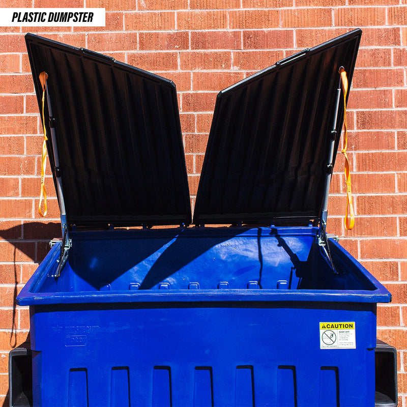 Kleen Opener mounted onto both sides of a plastic dumpster with both lids held open by the Kleen Opener.