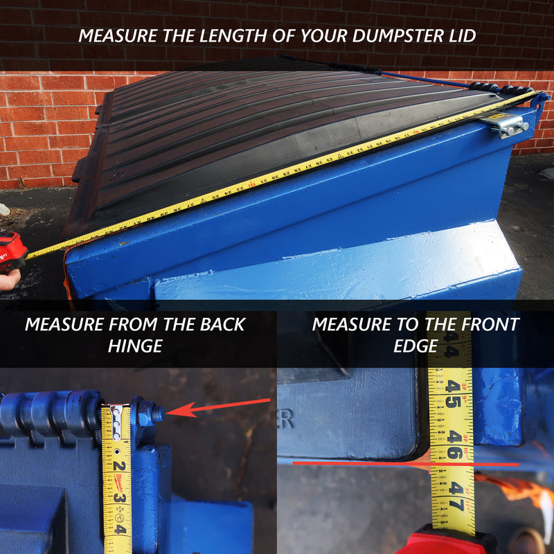 Image shows how to measure the length of a dumpster lid from the back hinge to the front edge of lid for a Kleen Opener