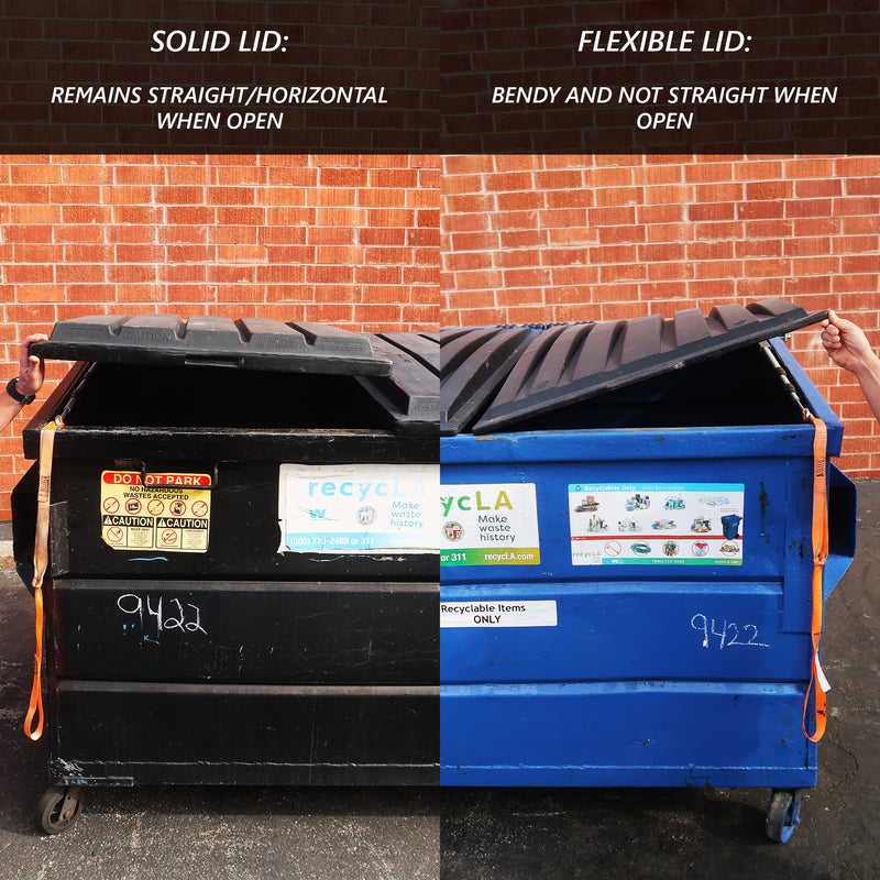 Image compares a solid lid versus a flexible lid on a dumpster.