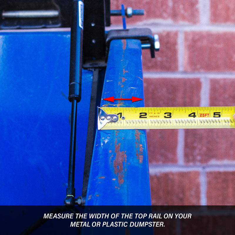 Ruler measuring the width of the top rail of a dumpster for a Kleen Opener