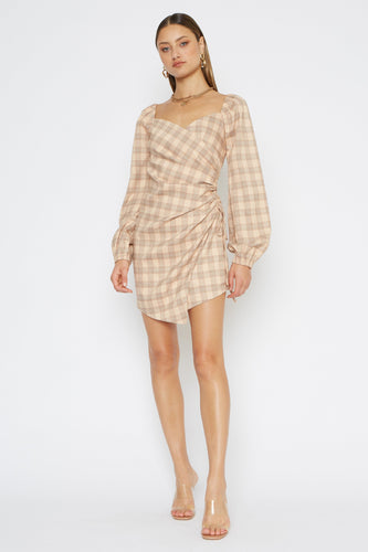 4SI3NNA Sydney Plaid Long Sleeve Mini Dress