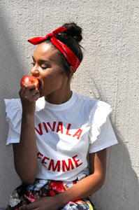 CUT FROM THE SAME CLOTH Viva La Femme Ruffled Tee