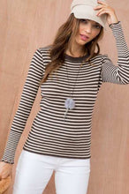 Load image into Gallery viewer, ELLISON Gemma Frayed Edge Stripe Knit Top