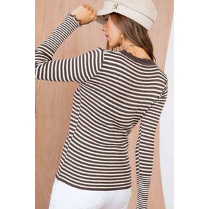 ELLISON Gemma Frayed Edge Stripe Knit Top