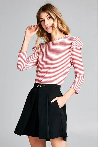 ELLISON Stripe Ruffle Shoulder 3/4 Sleeve Tee