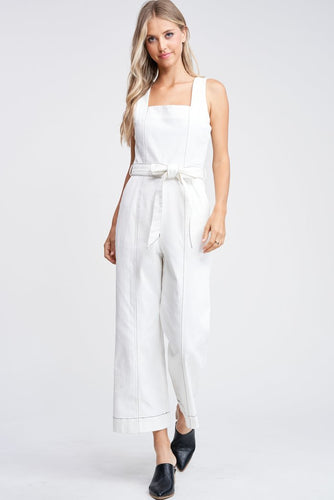 EN SAISON Denim Square Neck Jumpsuit