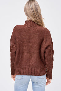 EN SAISON Mock Neck Cable Sweater