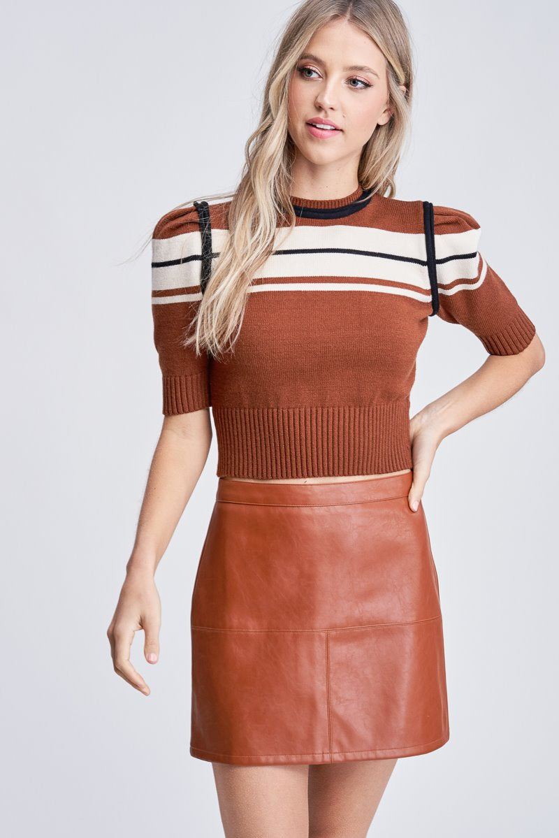 EN SAISON Retro Stripe Knit Sweater