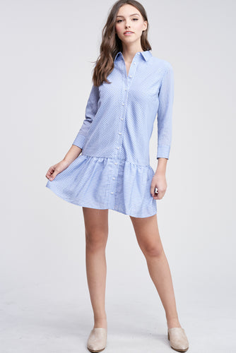 EN SAISON Striped Mini Shirt Dress