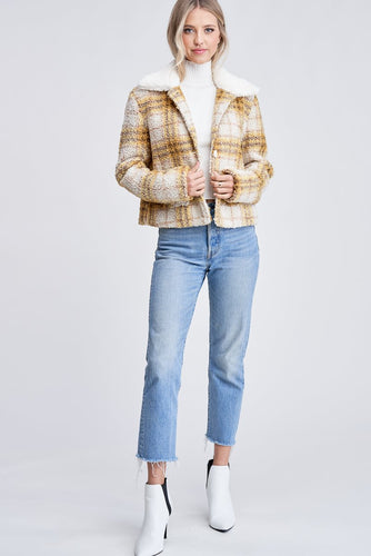 EN SAISON Plaid Shearling Jacket