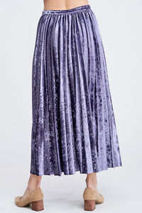 EN SAISON Pleated Velvet Midi Skirt