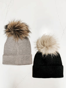 THD SHOPPE Cameron Ribbed Knit Pom Beanie -- EXCLUSIVE
