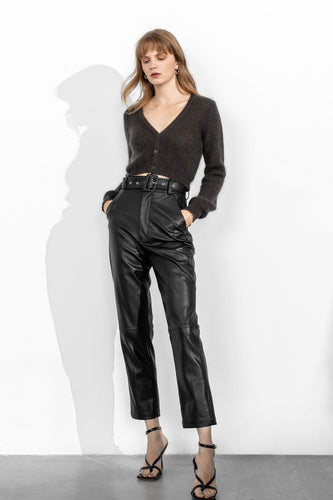 J.ING Slick Belted Vegan Leather Trousers
