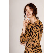 Load image into Gallery viewer, MOODIE Printed Twist Tiger Midi Dress
