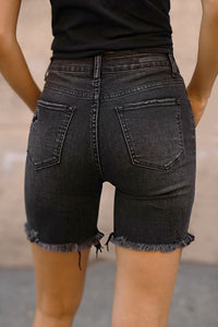 "RISEN ""Cooper"" High Waist Distressed Denim Shorts"
