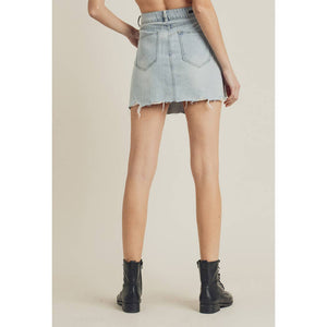RISEN Button-Front Asymmetric Denim Mini Skirt