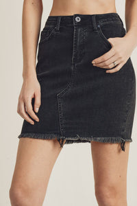 RISEN JEANS Billie High Waist Denim Cut-Off Skirt
