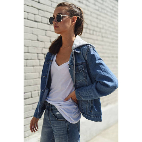 RISEN Hooded Denim Boyfriend Jacket