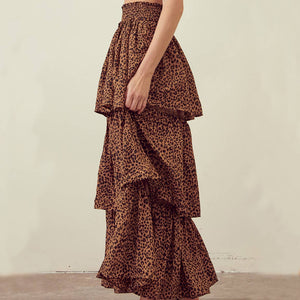 STORIA Leopard Tiered Layered Maxi Skirt