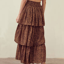 Load image into Gallery viewer, STORIA Leopard Tiered Layered Maxi Skirt