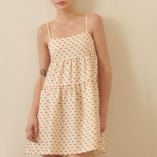 STORIA Orange Dotted Tiered Dress