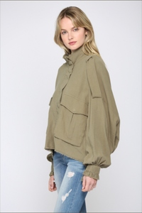FATE Oversized Raw Trim Army Jacket