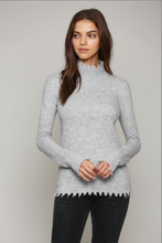 Load image into Gallery viewer, heather_grey_cashmere_blend_distressed_hem_turtleneck_sweater_THDShoppe_1