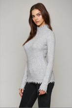 Load image into Gallery viewer, heather_grey_cashmere_blend_distressed_hem_turtleneck_sweater_THDShoppe_2