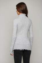 Load image into Gallery viewer, heather_grey_cashmere_blend_distressed_hem_turtleneck_sweater_THDShoppe_3