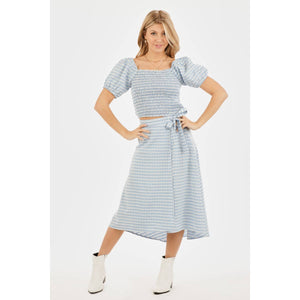 VERY J Gingham Wrap Midi Skirt