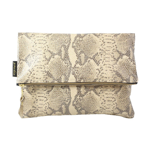 ZINA KAO Adeline Snake-Embossed Leather Foldover Clutch