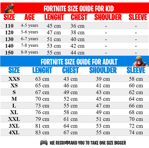 Fortnite shop size guide