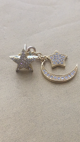 ICandi Rocks | Moon & Star Drop Earrings - Gold