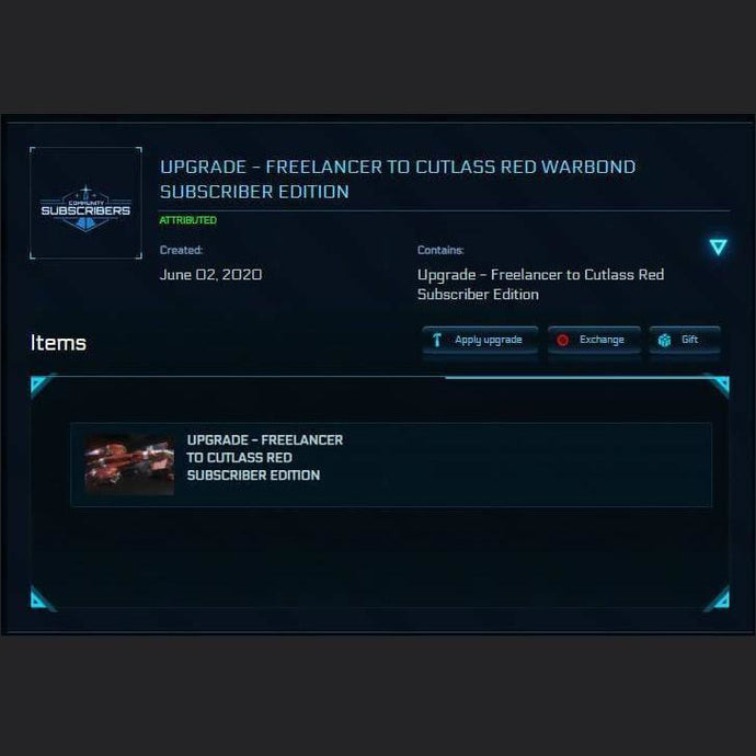 Freelancer to Cutlass Red Warbond Subscriber Edition | Upgrade | Jpeg_Warehouse | Space Foundry Marketplace.