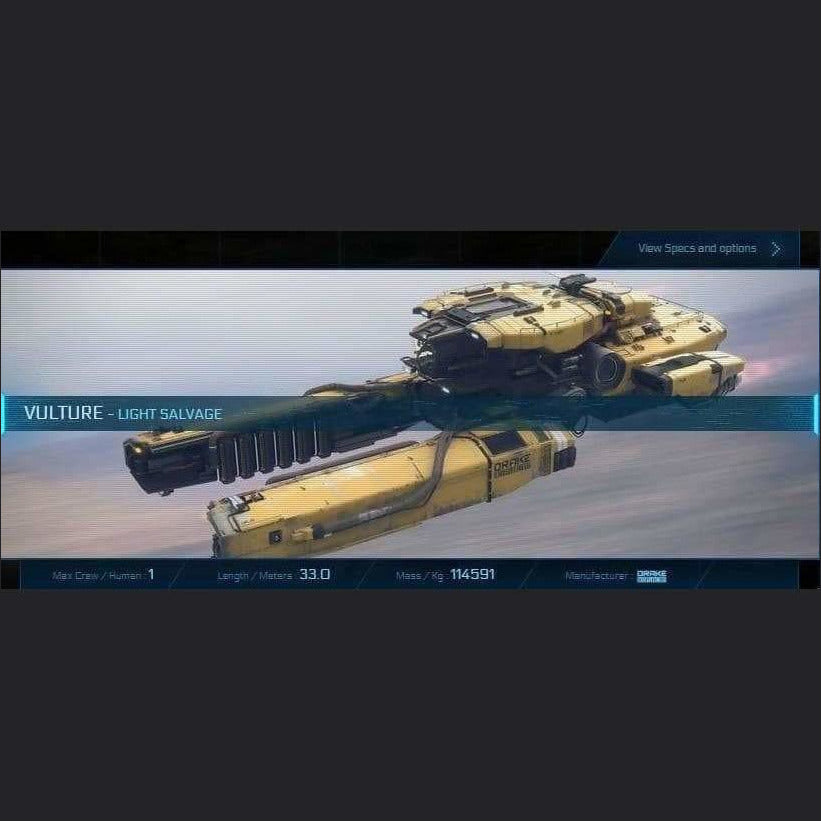 VULTURE - 120m - CCUed | Standalone CCU'd Ship | JPEGS STORE | Space Foundry Marketplace.