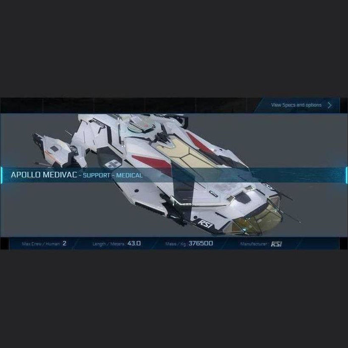APOLLO MEDIVAC - LTI - CCUed | Standalone CCU'd Ship | JPEGS STORE | Space Foundry Marketplace.