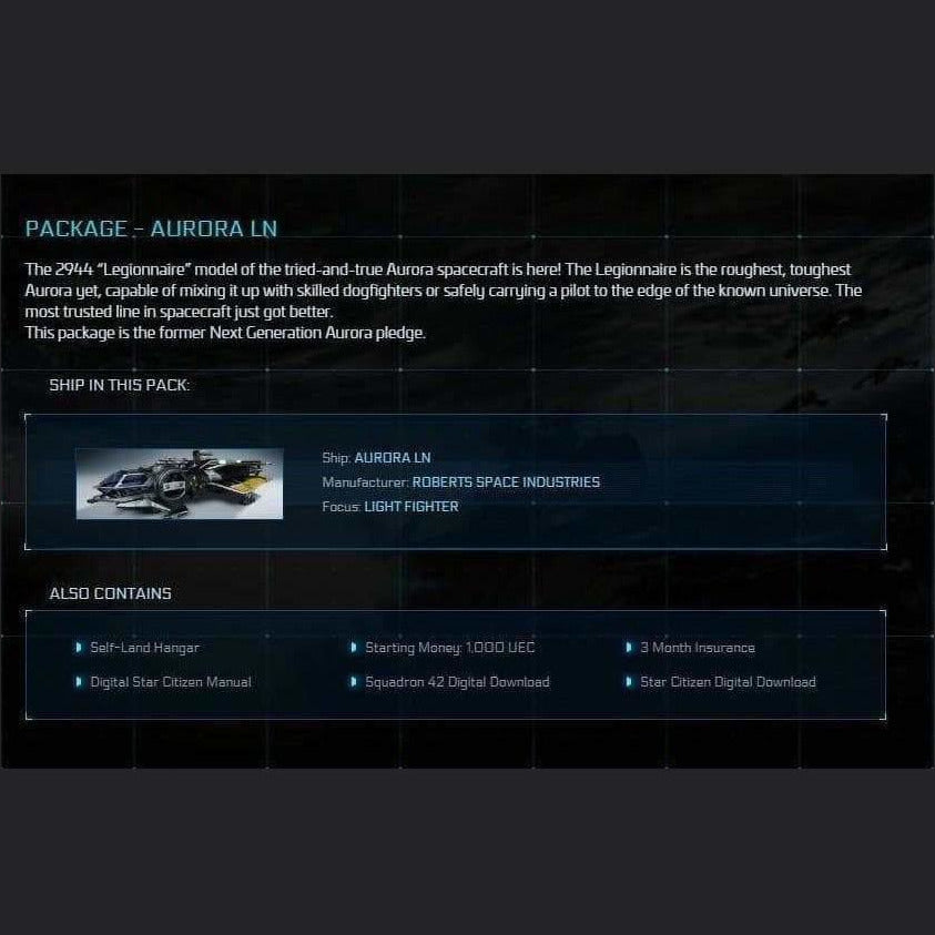 PACKAGE - AURORA LN | Game Package w/ SQ42 | JPEGS STORE | Space Foundry Marketplace.