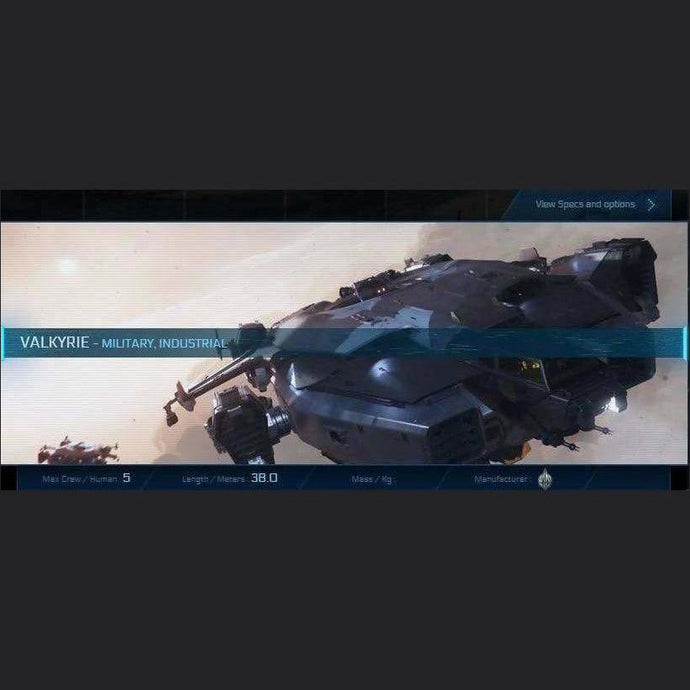 VALKYRIE - LTI - CCUed | Standalone CCU'd Ship | JPEGS STORE | Space Foundry Marketplace.