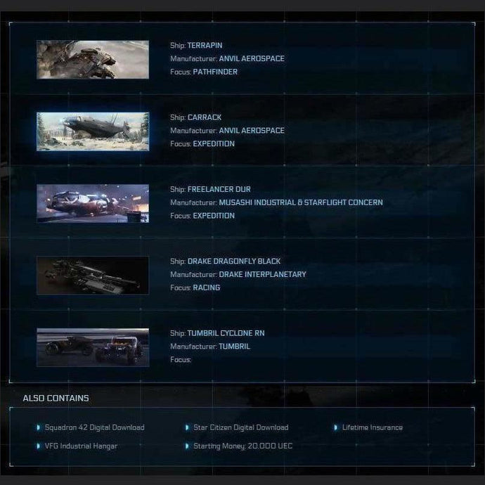 Game Package w/ SQ42 | Space Ship Market | Space Foundry Marketplace.