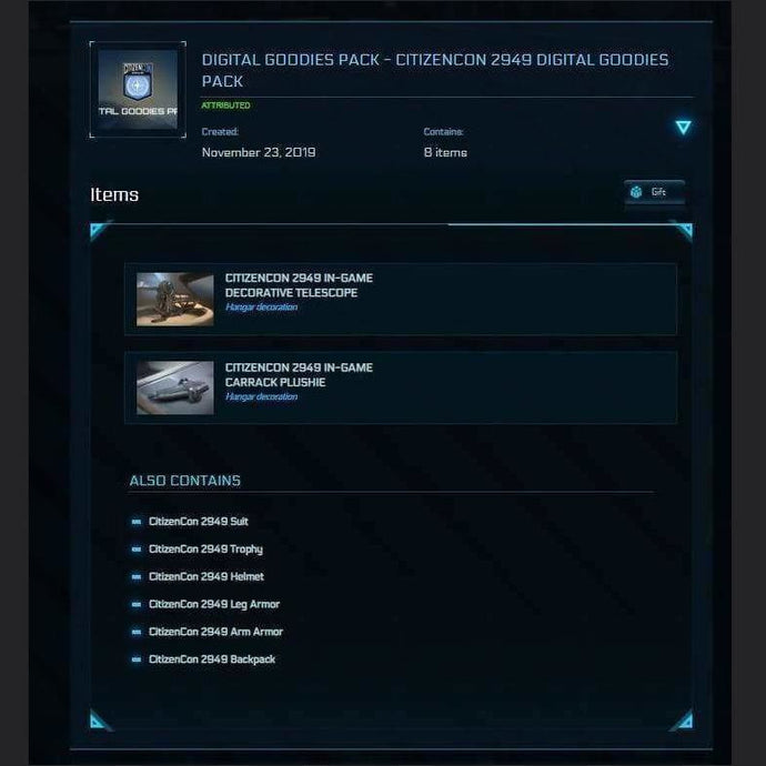GOODIES PACK - CITIZENCON 2949 DIGITAL | Add-On | Might | Space Foundry Marketplace.
