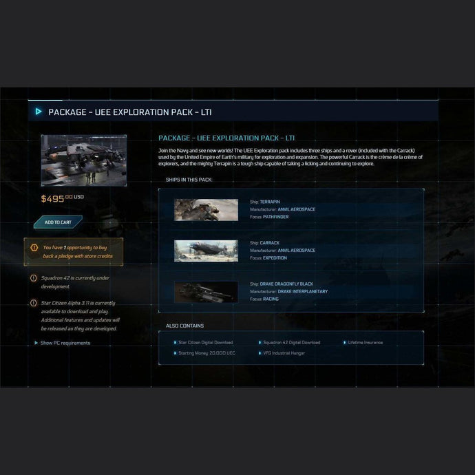 UEE Exploration Pack LTI | Game Package w/ SQ42 | Interstellar Brokerage | Space Foundry Marketplace.