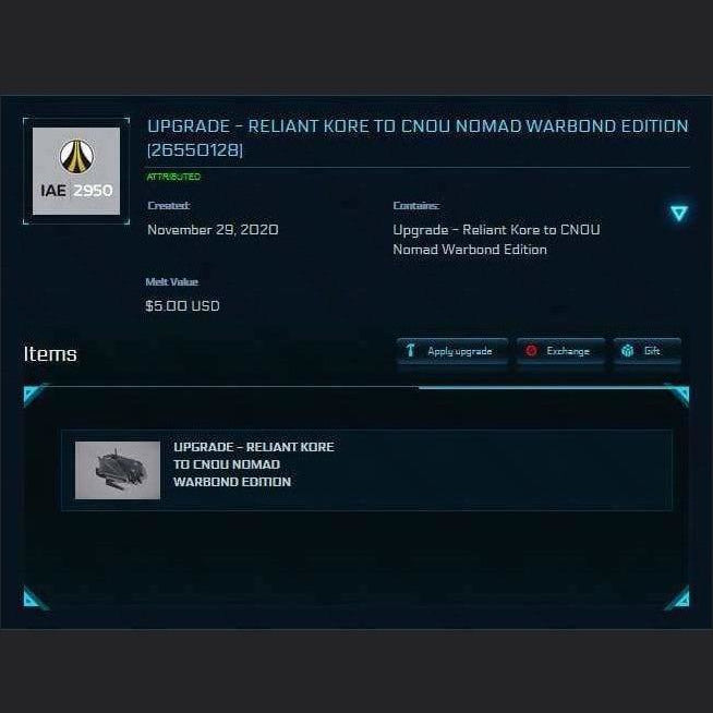 Upgrade - Reliant Kore to CNOU Nomad Warbond Edition LTI | Upgrade | KaLeus Ship Corner | Space Foundry Marketplace.