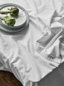Border Table Cloth In Milk-Table Linen-Sheets on the Line