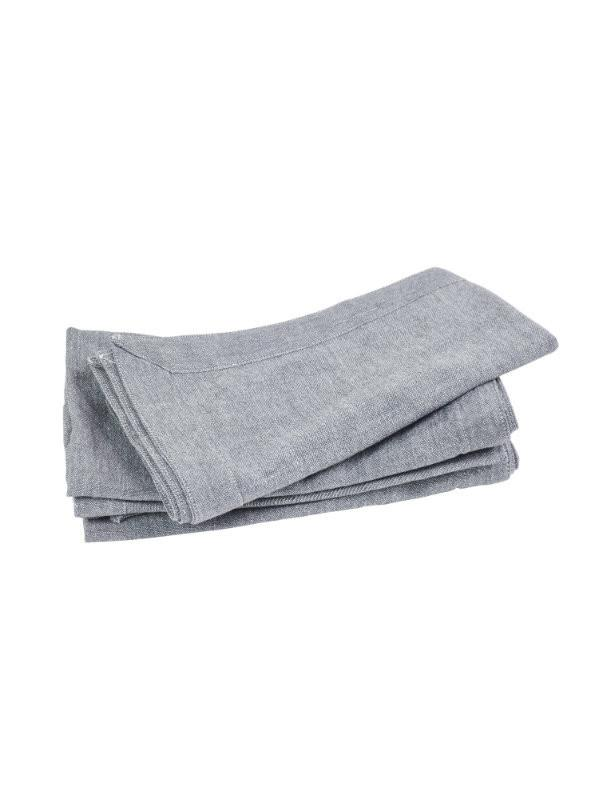 Border Table Napkins In Slate-Table Linen-Sheets on the Line