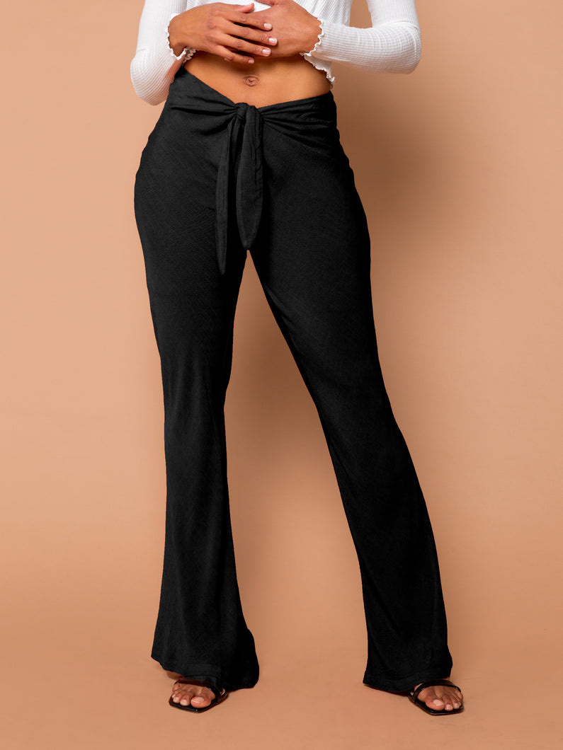 THE TIED SLIM FLARE PANT ~ Black