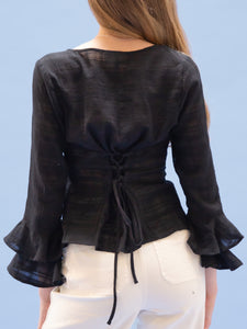 THE RUFFLE SLEEVE TOP ~ BLACK  ~ Final Sale