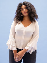 Load image into Gallery viewer, THE RUFFLE SLEEVE TOP ~ IVORY