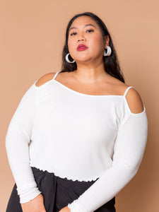 THE SHOULDER PEEK TOP - Milk
