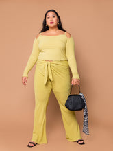 Load image into Gallery viewer, THE TIED SLIM FLARE PANT ~ Pear