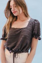 Load image into Gallery viewer, THE SQUARE NECK CINCHED TOP ~ GRAPHITE